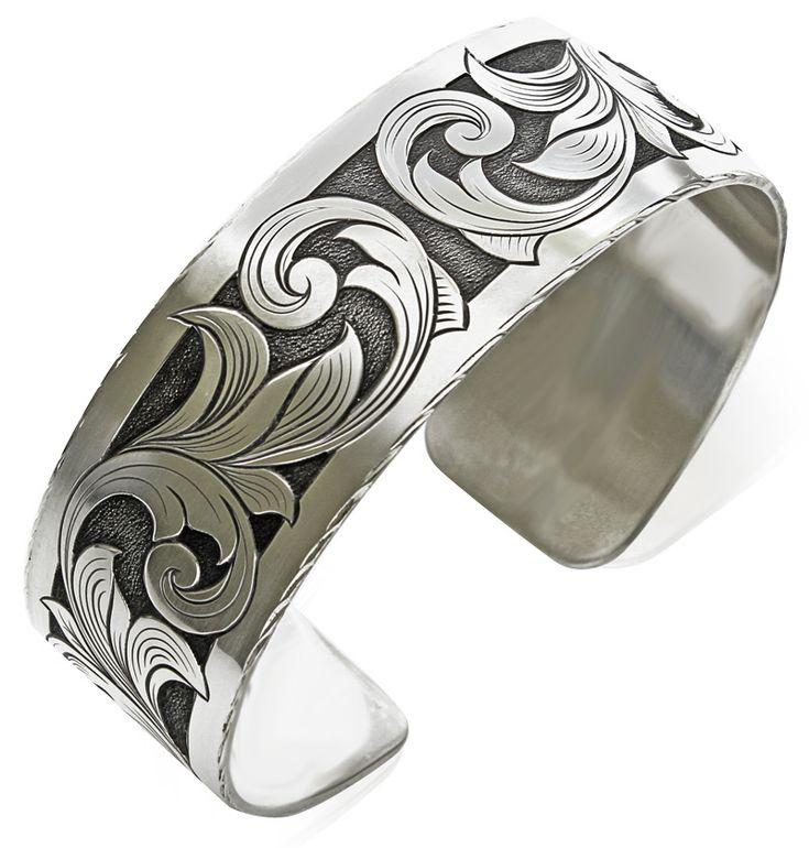 Hand Engraved Sterling Silver Bracelet