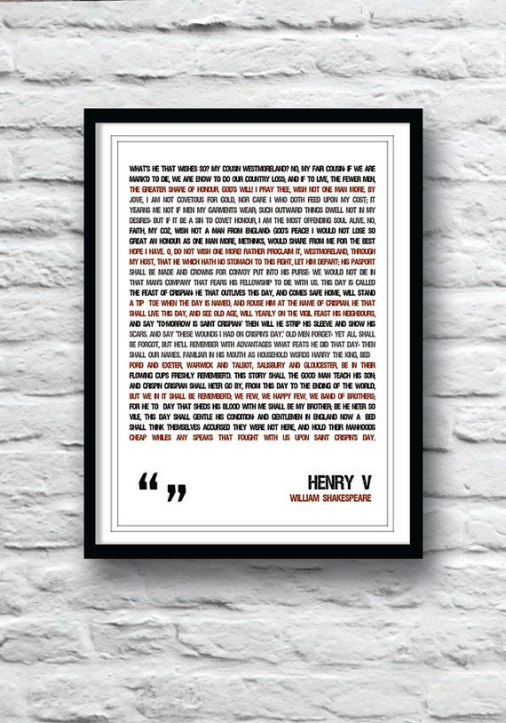 Shakespeare quote Henry V Poster Shakespeare poster by Redpostbox, £8.00
