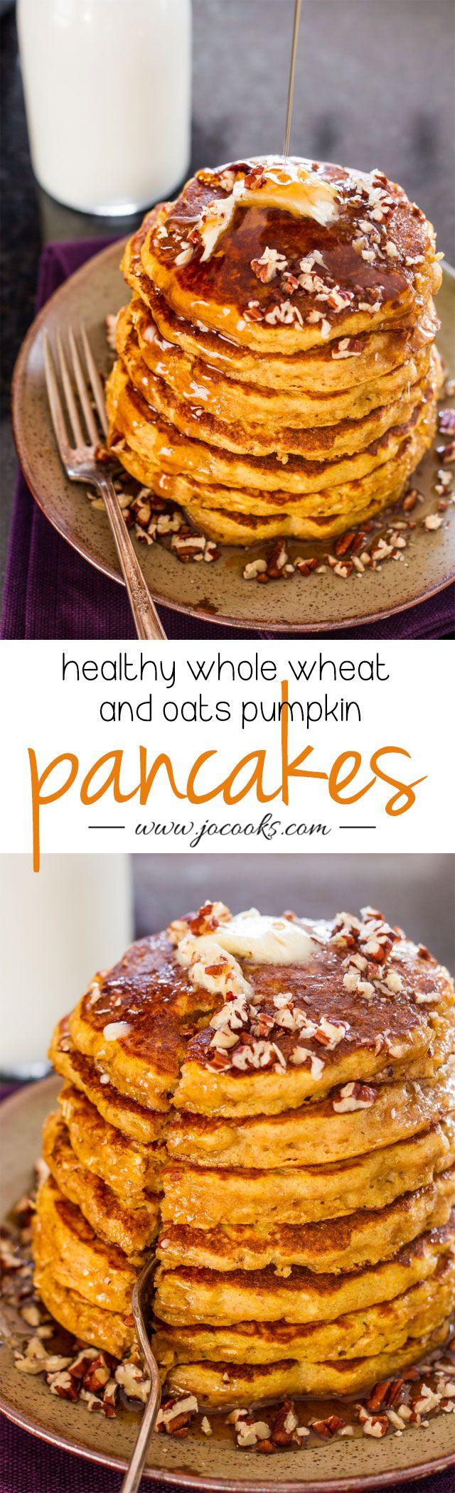 Healthy Whole Wheat and Oats Pumpkin Pancakes (pumpkin desserts, pumpkin breakfast, pumpkin recipes)