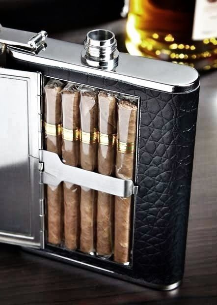 Gentleman's Essentials .. Cigar Holder & Flask