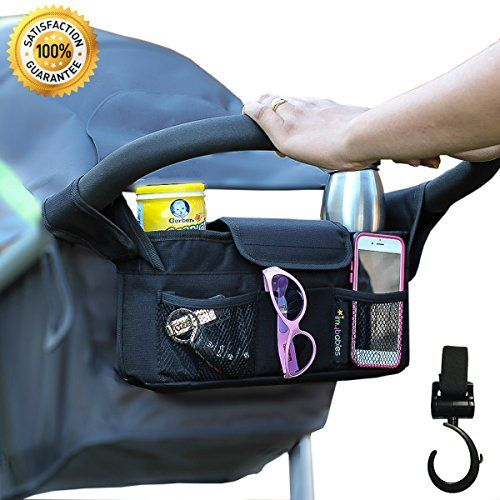 Stroller Organizer  Stroller Hook Universal fit with Adjustable Straps Stroller Caddy Accessories Bag Stroller Bag Baby Accessories Stroller Diaper bag (Black)