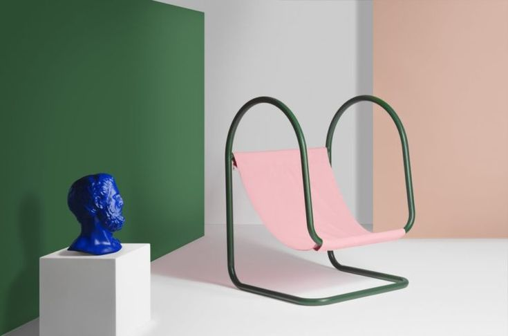 A new kind of outdoor furniture in order to rest near the pool in summer, design by Nova Obiecta | Parad chair | chaise longue | deck chair | pool chair | outdoor furniture | furniture design 2018 | new chair collection 2018 | pink chair | green chair | funny chair | French design | interior styling | Klein blue pottery | green wall | interior stylist | set design 2018 | 2018 interior design trends | 2018 color trends | design chair | Nova Obiecta | pool furniture | pink wall | blue…