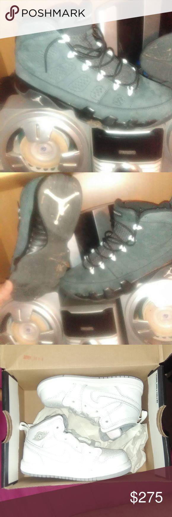 Jordans Retro cougar 9s n White jordan the 1s wearn 3timez size 11   the white jordan 1s  brand new never used size 7c Jordan Shoes Sneakers