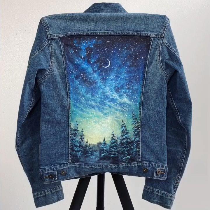 Sternenklare Nacht gemalte Jacke Zeitspanne #gema…