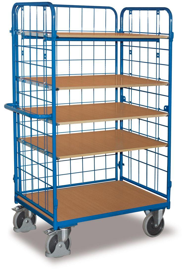 GTARDO.DE:  Etagenwagen hoch, vergittert, Tragkraft 500 kg, Ladefläche 1000 x 600 mm, Maße 1189 x 627 x 1816 mm, Rad 200 mm 428,00 €