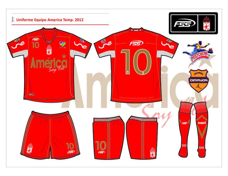 Diseño uniforme #1 Equipo America S.A.  Año 2012 (Colombia).