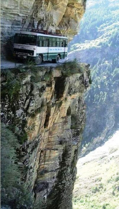 Buses in Himachal Pradesh, India. The bus drivers are either very good, or very crazy. Probably both actually.