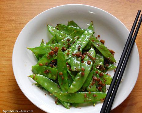 Sichuan-Style Snow Peas (minus the shrimp to veganize)