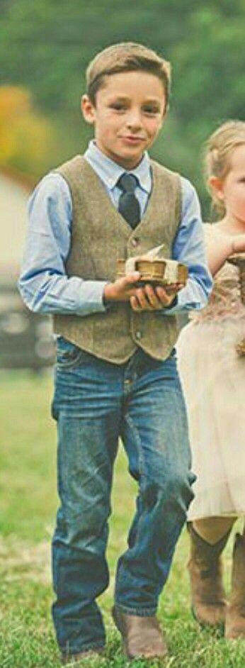 *RING BEARER ATTIRE* Change the blue shirt to white, change the dark brown to lighter brown, no tie, add cowboy hat.