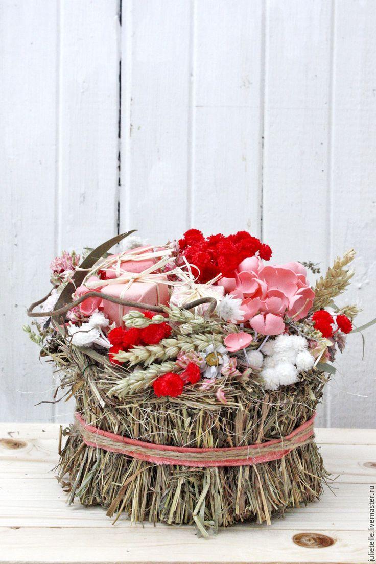 Купить Интерьерная композиция - ярко-красный, композиция из цветов, композиция для дома, подарок, 8 мата