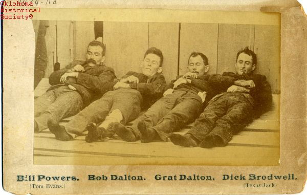 Members of the Dalton-Doolin Gang after their deaths, 5 Oct 1892, Coffeyville, KS