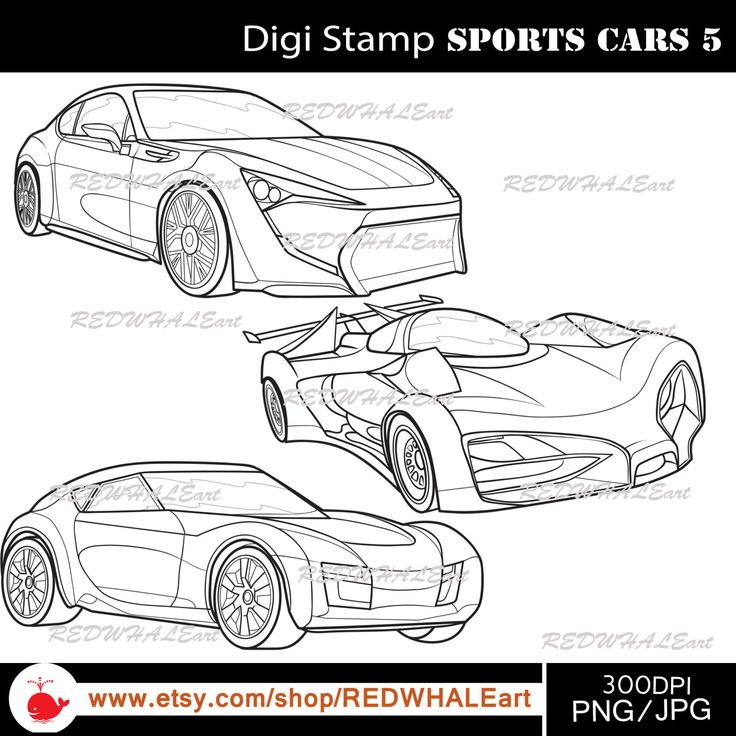 Sports Cars5/ Black & White /Digital Images/ Clipart Elements Set / 3 PNG/JPG / For Personal and Commercial use/ Clip Art/ Instant Download by REDWHALEart on Etsy