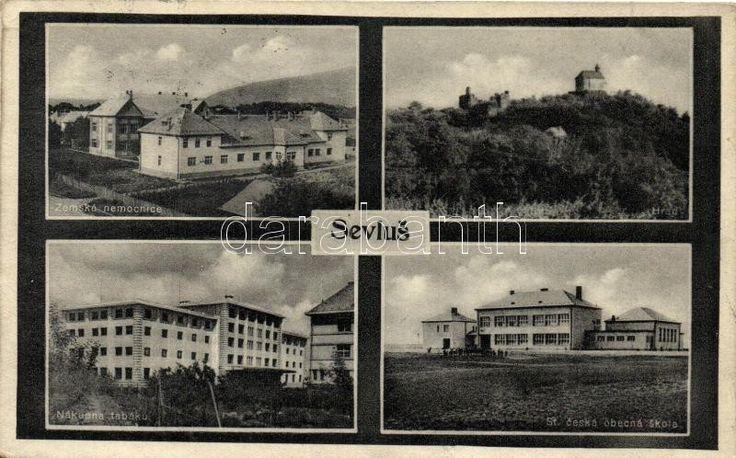 Nagyszőlős, Sevlus; Zemska nemocnice, obecna skola, nakupna tabaku; Nakl. Béla Klein / hospital, school, tobacco exchange