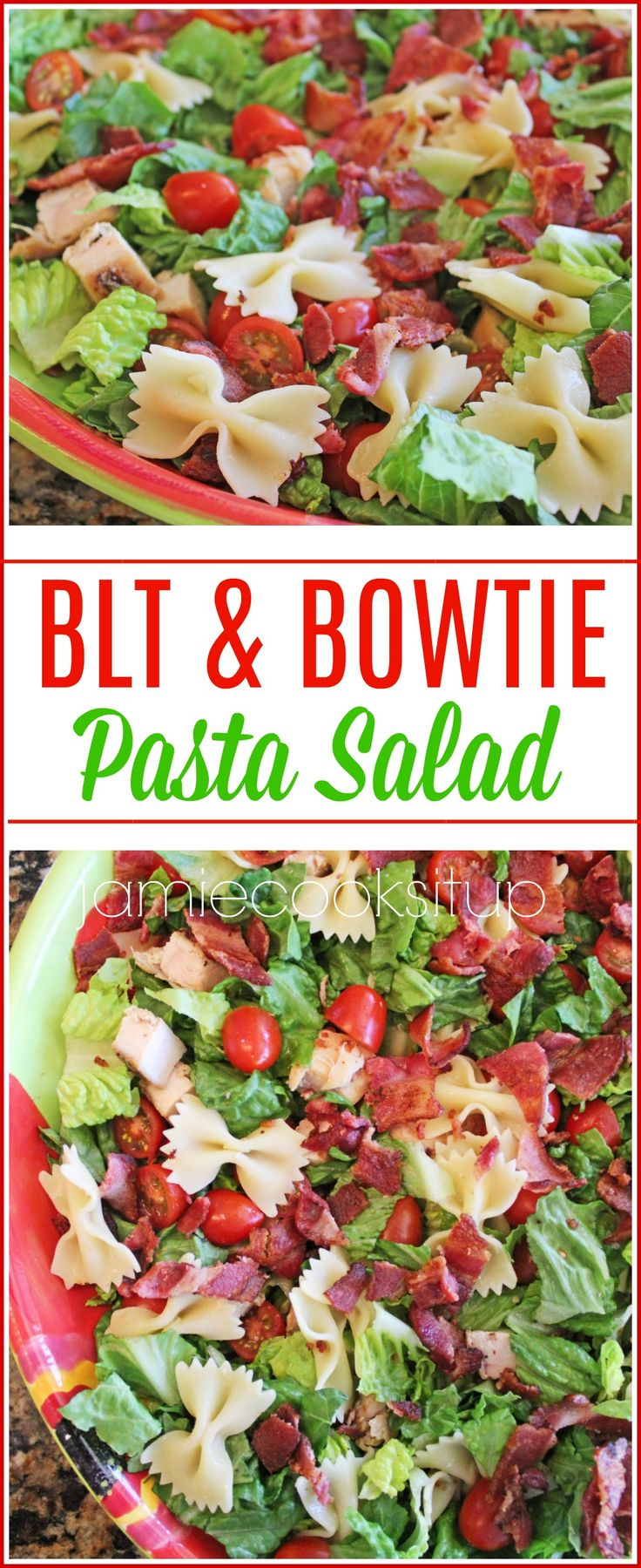 BLT and Bowtie Pasta Salad from Jamie Cooks It Up! This is a fantastic take a long salad, or hearty main course salad.