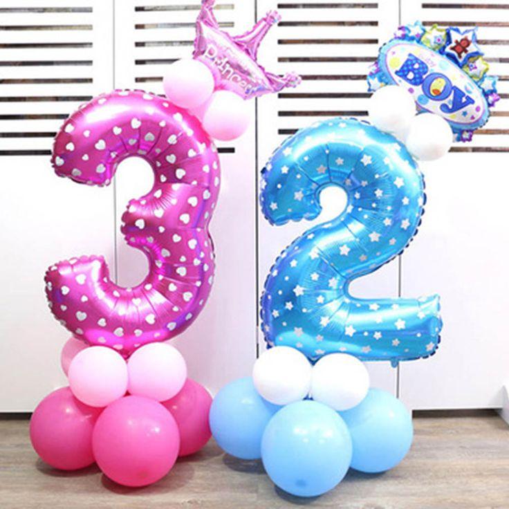 1 шт. 32 дюймов розовый синий номер фольги Воздушные шары цифра гелия баллоны День рождения Свадебный декор Air шары событие для вечеринок