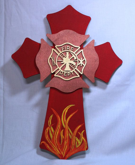 Wooden Hand Painted Firefighter Cross by MysticalWonders on Etsy