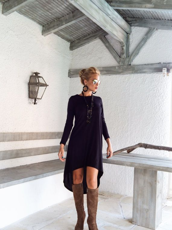 Vestido asimétrico blusa túnica de negro / por SynthiaCouture