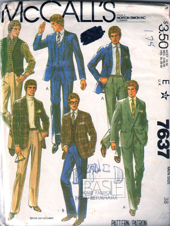 McCalls 40 40s Mens Designer BASILE 40 Piece Suit Pattern Lined Best Mens Suit Sewing Patterns