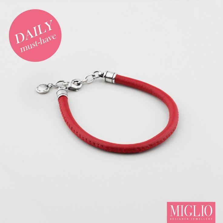 Bold red #miglio #leather #bracelet