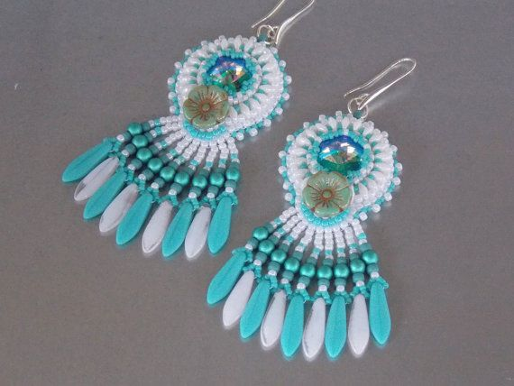 Bead embroidery, Earring, Seed bead jewelry, Fashionable earring, Trending jewelry, Table cut flower, Swarovski, Turquoise by vicus. Explore more products on http://vicus.etsy.com