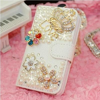 HOT Crown bling PU Leather Flip Wallet for iphone 5 5g case