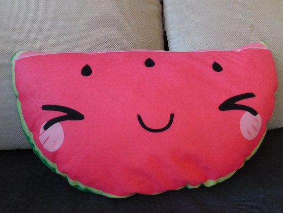 watermelon pillow food pillow fruit pillow kawaii by NiviaWorkshop