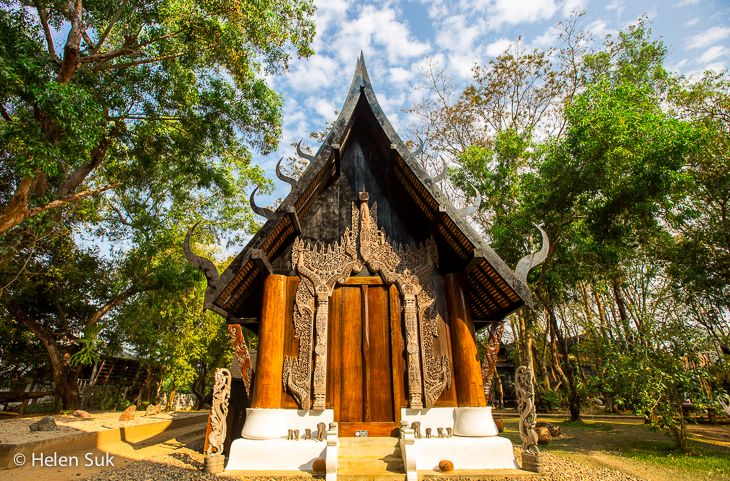 The gothic architecture at Baan Dam Museum (Black Temple/Black House) in Chiang Rai, Thailand.