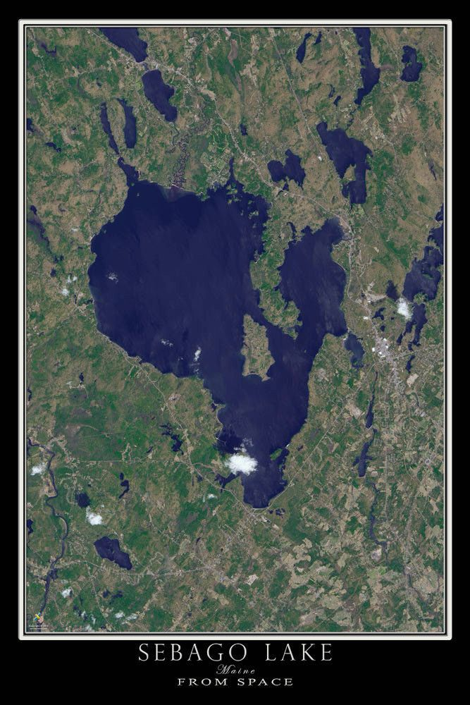 Sebago Lake Maine Satellite Poster Map 518