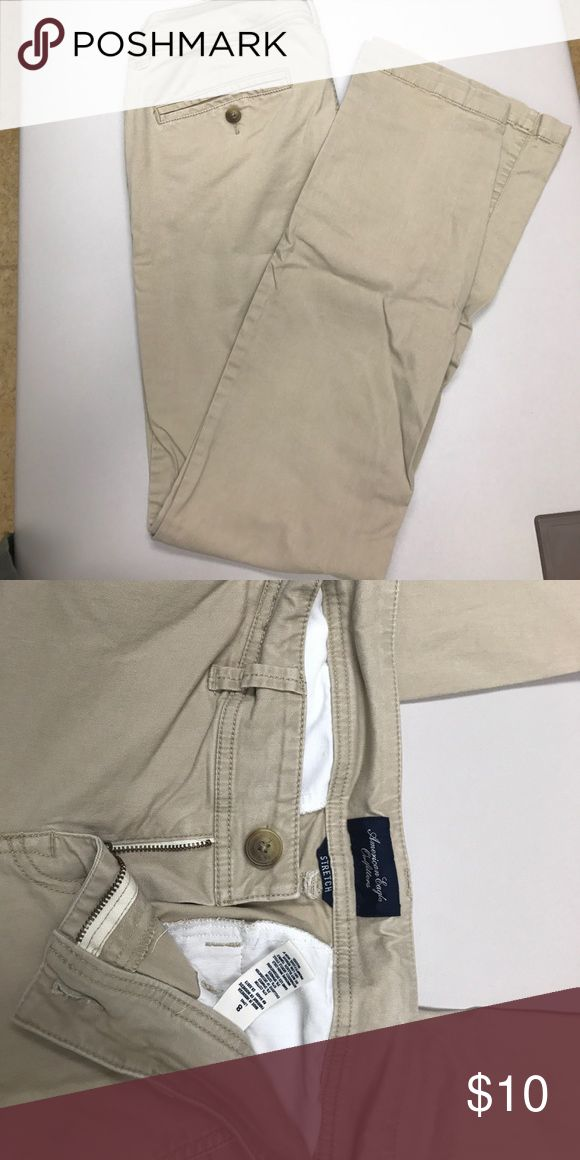 AEO tan twill bootcut pant American Eagle Outfitters size 8 long twill bootcut pants.  Worn only a few times, great condition. American Eagle Outfitters Pants Trousers