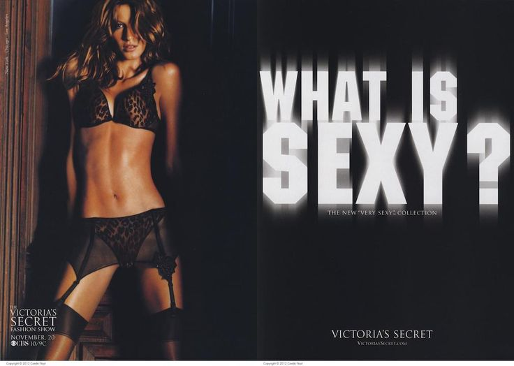 Advertisement: Victoria's secret (victoria's secret). (2002, Nov 01). Vogue, 192, 42-42, 43. Retrieved from http://cmich.idm.oclc.org/login?url=https://search.proquest.com/docview/879307650?accountid=10181 Week 5, this VS ad was founded in Vogue of 2015. This ad portrays a fantasy appeal. By aiming the photo at the sexy model it appeals to consumers and creates a discrepancy between their real and ideal selves as this body is not realistic.