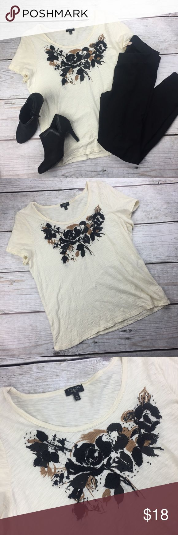 Talbots Petite Blouse- Ivory Black String- Xlarge Talbots Petite Blouse- Ivory Black String Embellished Short Sleeve Top- Xlarge  Flaw: Small dot on the back. Please see pictures.   Material: 100% cotton  (No other item pictured for sale)  12-1017 Talbots Tops Blouses