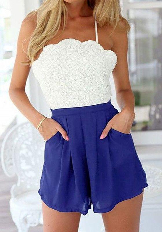 White-Blue Patchwork Lace Cross Back Backless Short Jumpsuit - Jumpsuit Pants - Bottoms