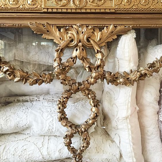 Carved And Gilded Detail Of Roses Swags Wreath Across The Front My Cherished 19 Th Century French Vitrine Where I Keep Favorite Antique