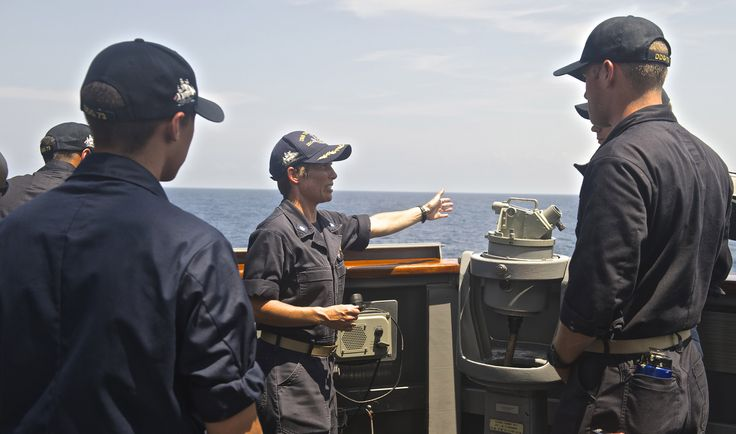 https://flic.kr/p/JYgCEJ | 160712-N-QC631-133 | SOUTH CHINA SEA (July 12, 2016) Cmdr. Mary Hays, executive officer of the guided-missile destroyer USS Decatur (DDG 73), teaches midshipmen on the proper procedures during a man overboard drill. Decatur, along with guided-missile destroyers USS Momsen (DDG 92) and USS Spruance (DDG 111), are deployed in support of maritime security and stability in the Indo-Asia-Pacific as part of a U.S. 3rd Fleet Pacific Surface Action Group (PAC SAG) under…