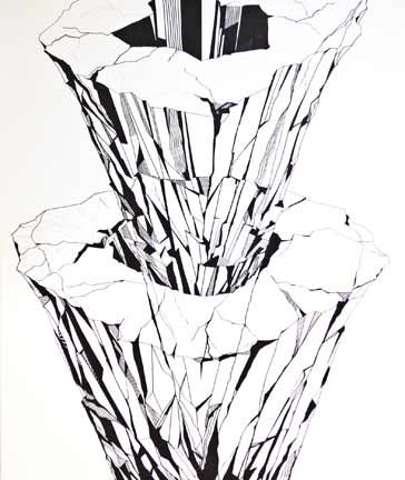 Emergence. Ink and acrylic on canvas, 120x100 cm - Art of Britta Westhausen