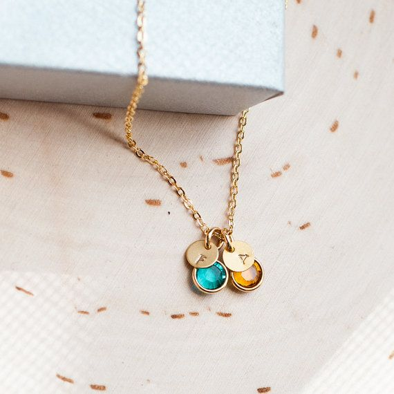Birthstone Personalized gold necklace ! Necklace with initial on a gold disc and birthstone is super dainty and feminine.   ITEM DETAILS * Gold