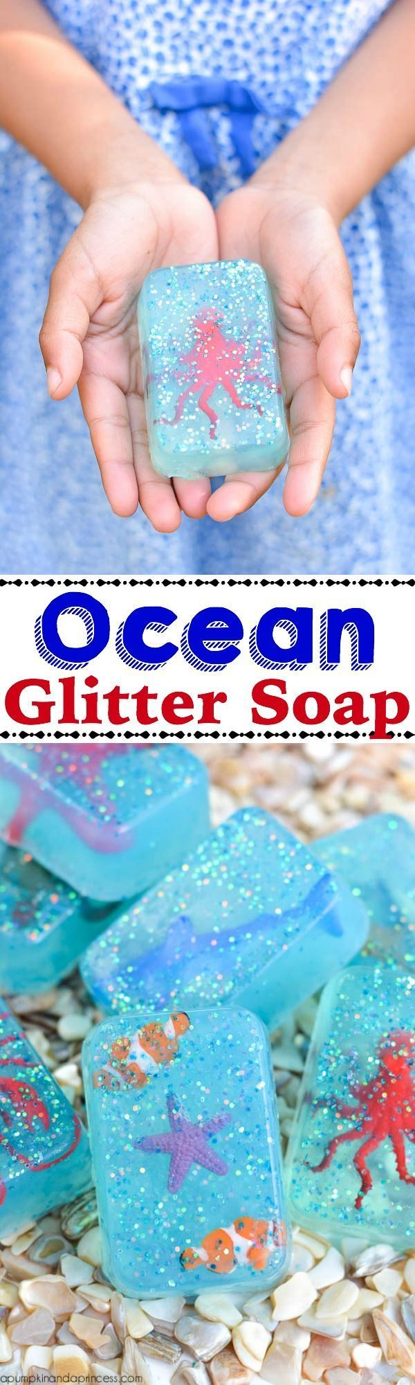Bring glitter to the big blue with this DIY Ocean Glitter Soap! The kids will love helping out with this easy craft, and they'll definitely love using it at home!