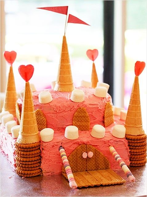 I'm sorry I'm not a cool mom that will spend a fortune on a cake.. wait I'm not sorry but this one I can handle! This looks like a easy, simple, cheap princess cake! considering it will be 1 of 4 cakes at the party.. :-/