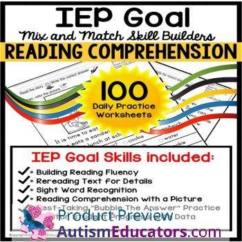 READING COMPREHENSION IEP Goal Skill Builder WORKSHEETS for Autism