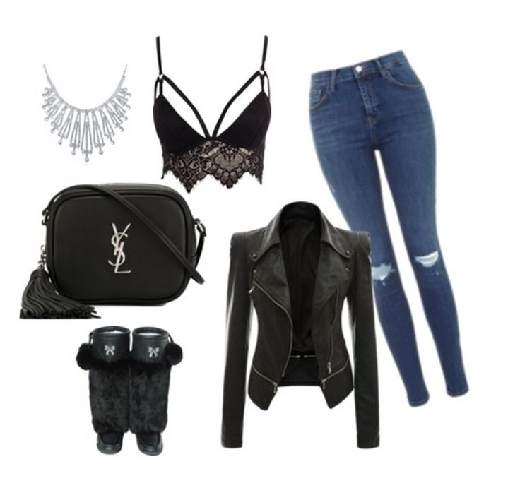 #Topshop ripped Jeans #Nelly shirt #WalkingThreads moto jacket #YSL crossbody bag #Lukluks boots #BlingJewelry necklace
