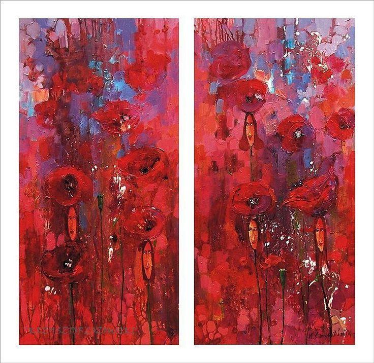 Poppies, Krzysztof Lozowski 2 x 80x40cm, acrylic, canvas, for sale