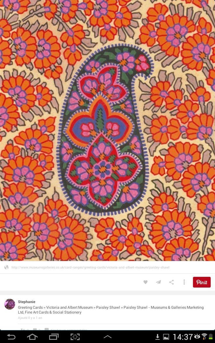 Love flower power daisy graffiti print cotton fabric 60s 70s retro - Paisley Shawl By George Hait