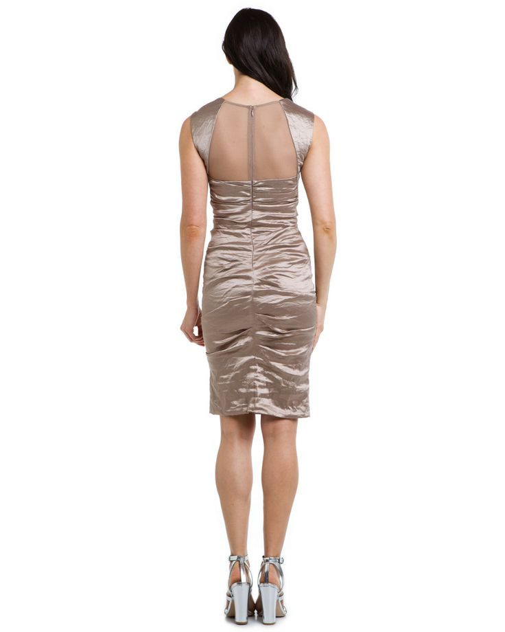 Nicole Miller Sand Metallic Ruched Dress from the back