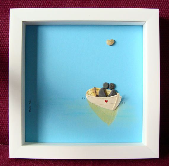 Wedding Gift Pebble Art - Beach thema bruiloft - Engagement Gift - bruids douche Gift - paren Gift - verjaardag cadeau - Pebble Art