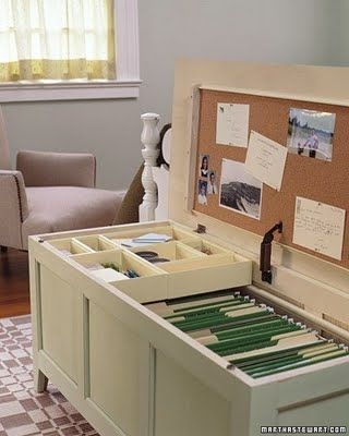 Home Office Organizing Tips and DIY Projects-Hide your filing cabinet inside a chest when not in use by creating a Mini Office in a Chest. it can also double as extra seating by throwing a few throw pillows on top.  The inside of the chest drawer doubles as a cork board for pinning important notices.