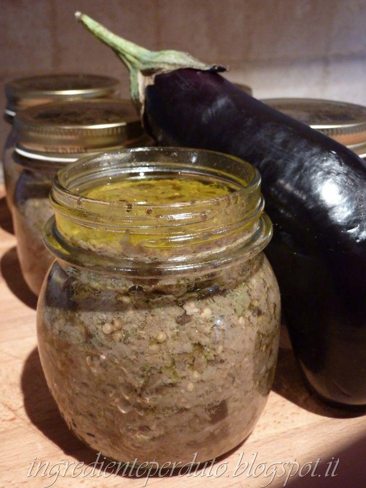 SALSA DI MELANZANE. Con meno alici è più  delicata.100 gr. di tonno 100 gr. di alici 100 gr./1kg di capperi salsa di melanzane conserva