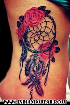 Adorable Wolf Head in Dreamcatcher Watercolor Tattoo on Rib | DIY Watercolor Tattoo