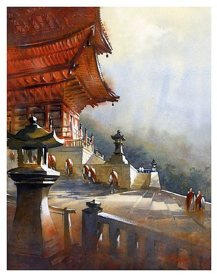 kiyomizu temple - kyoto by Thomas W Schaller Watercolor ~ 22 inches x 15 inches