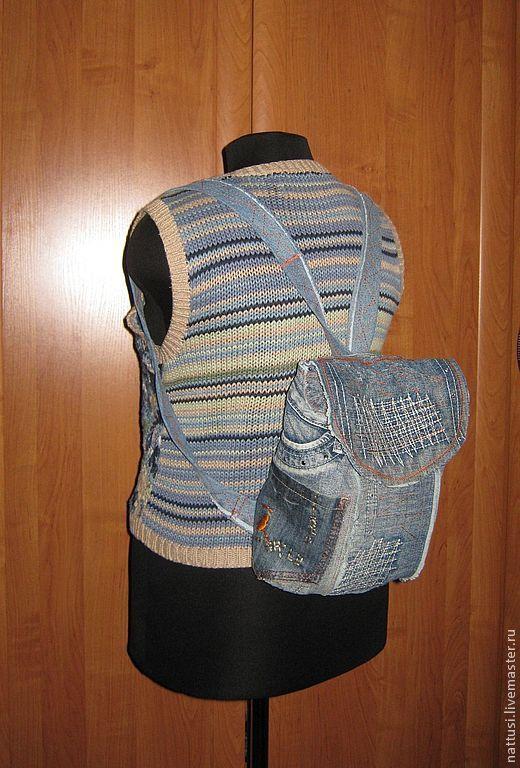 """Купить Рюкзак джинсовый """"Улётный"""" - синий, рюкзачок, рюкзак женский, рюкзак детский, рюкзак для девочки"""