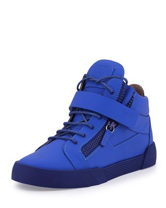 Men\'s Matte Leather Zip & Buckle Mid-Top Sneaker by Giuseppe Zanotti at Neiman Marcus.